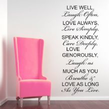 Live Well, Laugh Often, Love Always ~ Wall sticker / decals